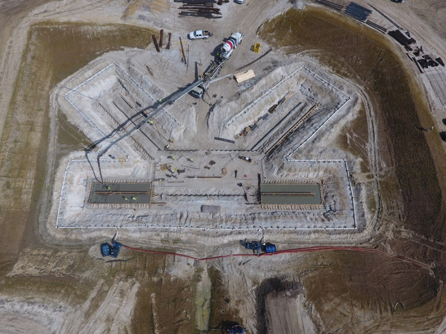 Aerial view of the C-44 reservoir pump station under construction in the Everglades. Most of the PENETRON-treated concrete remains completely underwater.