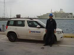 PENETRON Hellas Engineer Nikos Frouzakis, seen here at the mega-yacht marina construction site in Flisvos, Greece, makes sure the job is done perfectly.