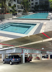 Concrete treated with PENETRON ADMIX and all construction joints sealed with PENEBAR SW-55 ensures no water will seep into the parking area from above.