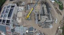 This aerial shot shows the new biofilm reactors and solids dewatering structures, treated with PENETRON ADMIX